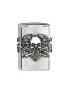 Zippo #200 Skull with Heart Emblem