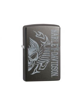Zippo #28378 grey dusk Harley Davidson Skull with wings