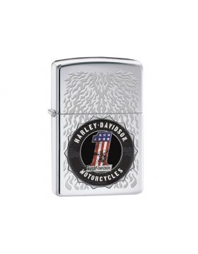 Zippo #250 high polish chrome Harley Davidson engraved flame