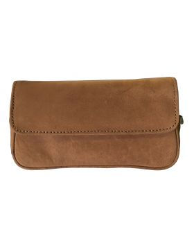 BigBen combi pipe pouch for   2 pipes brown buff leather