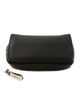 BigBen combi pipe pouch for 2 pipes black leather luxe