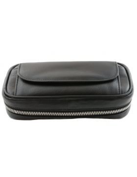 BigBen combi pipe bag for 2   pipes black leather