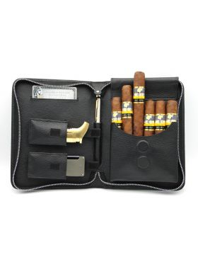 Adorini cigar bag leather black yarn (5-7 sticks)