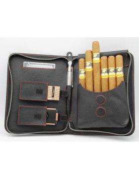 Adorini cigar bag leather red yarn (5-7 sticks)