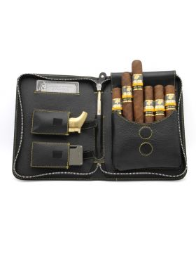 Adorini cigar bag leather yellow yarn (5-7 sticks)