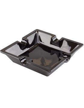 Sigaren asbak glas vierkant zwart