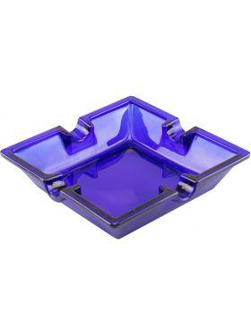 Sigaren asbak glas vierkant cobalt blauw