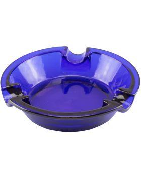 Sigaren asbak glas rond cobalt blauw