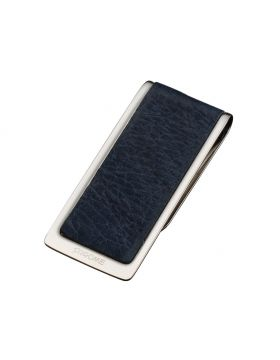 Sarome moneyclip chroom blauw leder